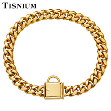 14mm Dog Collar Gold Color Lock Solid Stainless Steel Leash Pet Supplies Necklace High Polished Wholesale and Retail Hot