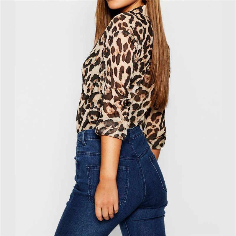 Blusas de gasa camisa de las mujeres 2019 de impresión de la camisa de la vendimia blusas de manga larga de cuello vuelto blusa Casual de talla grande