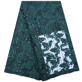 Green High Quality French Tulle Cord Lace Fabric Latest Nigerian French Network Cord Lace Fabric With Sequins For Dress 1750