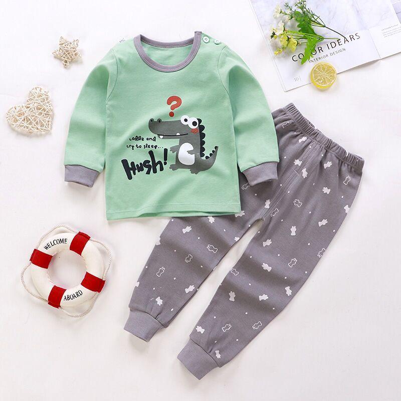 Newest Unisex 6M-4Y Children's Suits Boys Girls 100% COTTON Long Sleeve Kids Pajamas Sets 2Pcs Tops And Pants Sleepwear Clothes