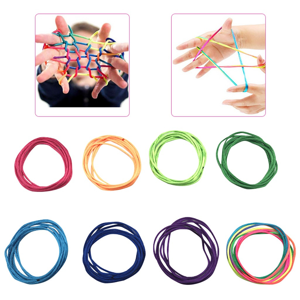 8pcs Chinese Rope Weaving Brainstorming Game Children Fun Puzzle Early Educational Toys Classic Hand Finger String Toy Kids Gift