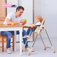Infant Shining Baby Feeding Chair Furniture Foldable Infant Feeding Chair Dining Table Chair Portable Baby Dining Chair 4 Wheel