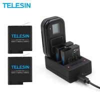 Paquete de 2 cargadores de batería TELESIN 2 en 1 WIFI cargador de mando para GoPro Hero 7 6 5 1220mAh para Hero 5 Hero 6 Hero 7 8