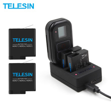 TELESIN 2Pack Battery Charger 2 in 1 WIFI Remote Control Charger for GoPro Hero 7 6 5 1220mAh for Hero 5 Hero 6 Hero 7 8