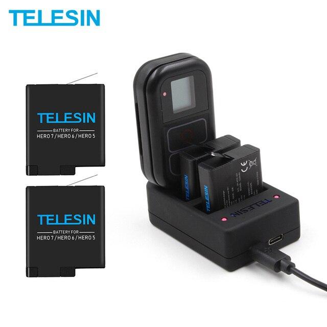 Telesin 2 Gói Pin Sạc 2 Trong 1 Điều Khiển Từ Xa Wifi Sạc Cho GoPro Hero 7 6 5 1220 MAh cho Hero 5 Hero 6 Anh Hùng 7 8
