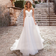Elegant Tulle Wedding Dresses Beaded Straps A Line Pleated Bridal Gowns Sexy Backless Chapel Train Formal Dress New