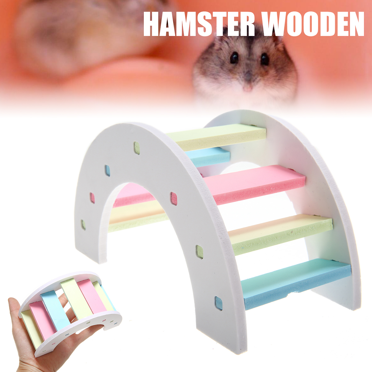 Hamster Ladder Bridge Wooden Bridge Toys Accessories Pet Product Quick Delivery Pet Toys For Small Animals Cage