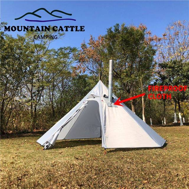 3-4 Person Ultralight Outdoor Camping Big Pyramid Tent Awnings Shelter with Chimney Hole for Bird watching Cooking 5
