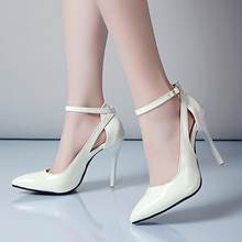AGODOR Sexy High Heels Stiletto Women Pumps Pointed Toe Patent Leather Ankle Strap Shoes White Office Ladies Shoes Big Sizes new designer black leather ankle wrap pumps women shoes pointed toe stiletto heels high heels pumps 12cm pink red ladies shoes