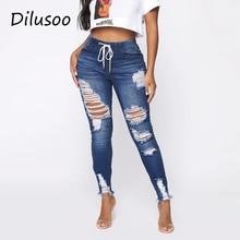 Ripped Jeans Pants Waist-Hole Women Skinny High-Elastic Woman Lady Dilusoo Casual 4-Season