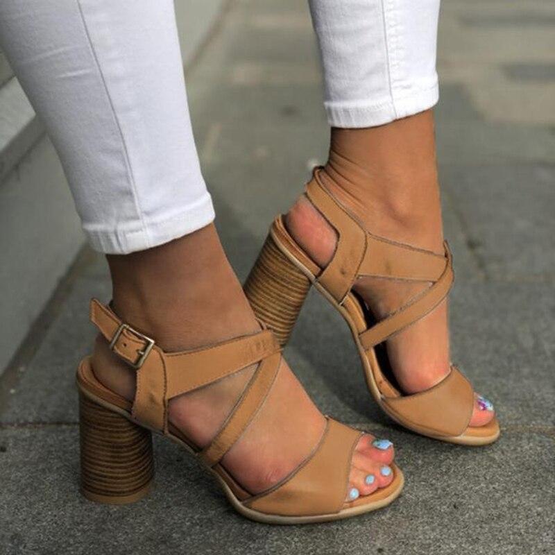 SWQZVT Plus size summer sandals women designer leather women high heels shoes vintage buckle classic casual ladies sandals 2020  (5)