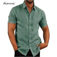 DIMUSI – chemises d'été en lin pour hommes, à manches courtes, couleur unie, vêtements de travail respirants