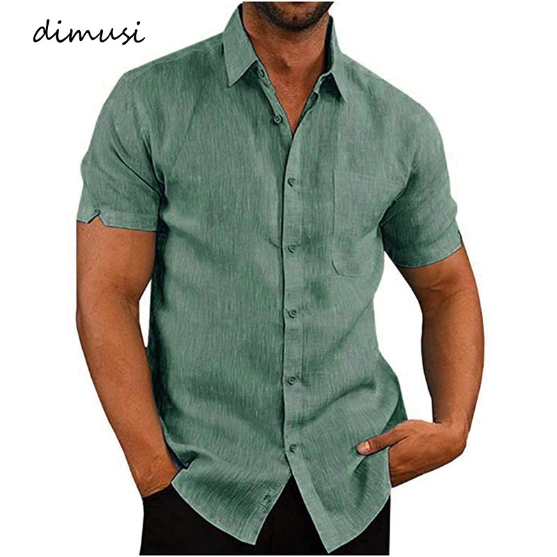 DIMUSI Summer Men's Shirts Casual Male Linen Short Sleeve Shirts Mens Solid Color Breathable Business Shirt Clothing