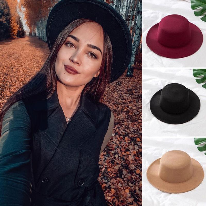 Solid Color Imitation Woolen Hat Women Felt Fedoras Jazz Cap Female Girls Simple Wide Brim Flat Top Hats
