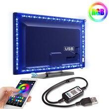 USB światła podszawkowe LED z pilotem lampka nocna DC5V taśma LED do TV tło dekoracja kuchni taśma RGB 2M 3M 5M