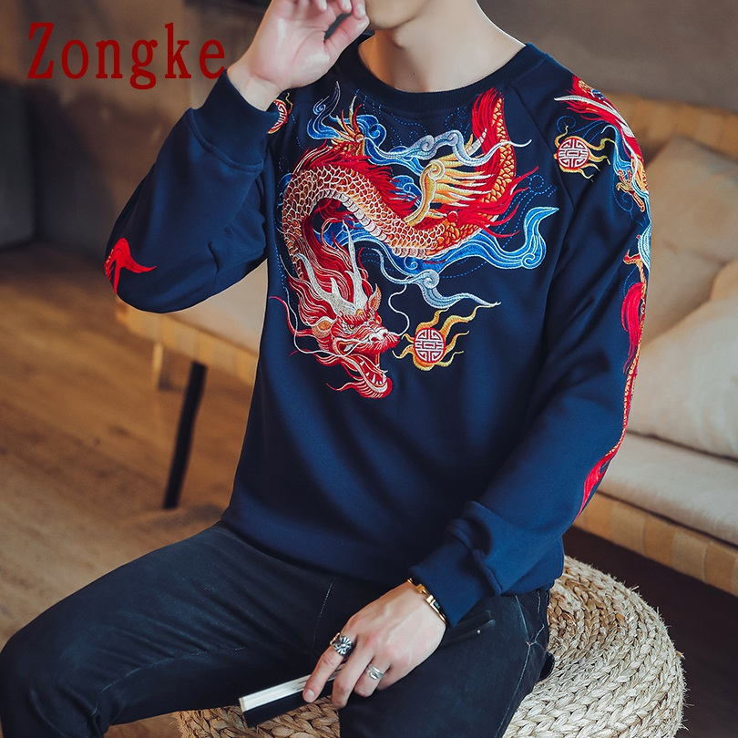 Zhongke 2019 New Autumn Dragon Embroidery Hip Hop Pullover Sweatshirt Men Casual Sweatshirts Men Fashion Streetwear Brand M-5XL