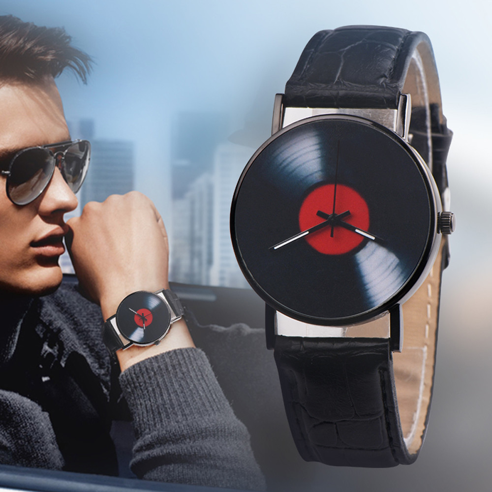 H617fc6b617ca41529527f63ab98be6cel 2020 Fasion Men's Watch Neutral Watch Retro Design Brand Analog Vinyl Record Men Women Quartz Alloy Watch Gift Female Clock NEW