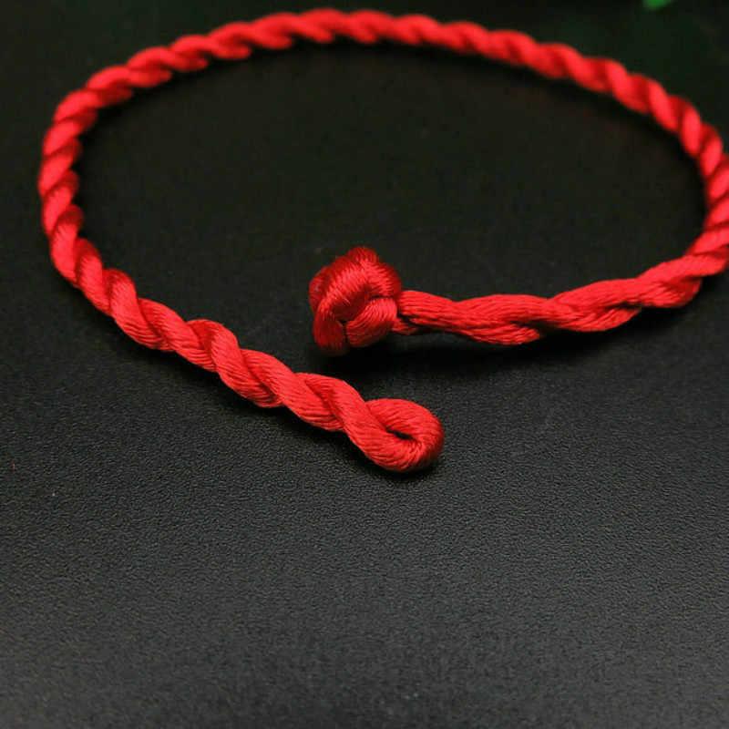 3UMeter Hot Sale 1PC Fio Vermelho Pulseira Corda Vermelha Sorte Verde Handmade Pulseira Corda para Mulheres Homens Jóias casal amante