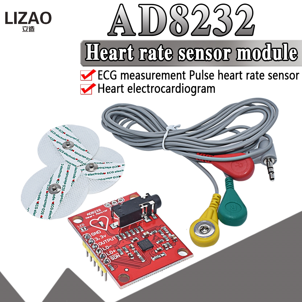 WAVGAT <font><b>Ecg</b></font> module AD8232 <font><b>ecg</b></font> measurement pulse heart <font><b>ecg</b></font> monitoring sensor module kit for <font><b>Arduino</b></font> UNO R3 image