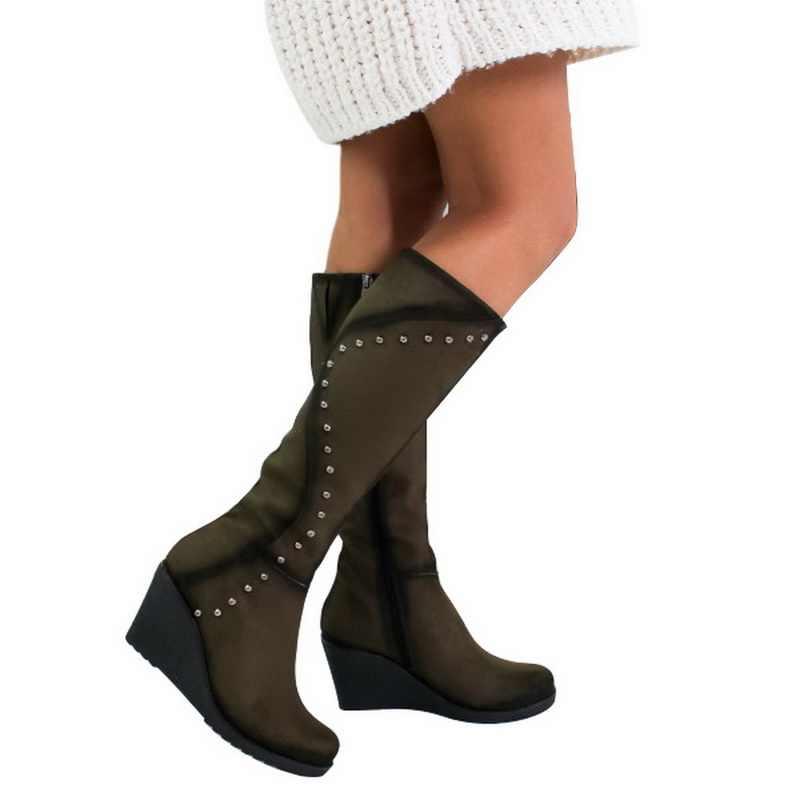 MoneRffi Vrouwen Laarzen Lange Laarzen Winter Knie Hoge Laarzen Klinknagel Ontwerp Botas Mujer Dames Schoenen Botas Mujer 2019 Dropshipping