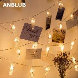 ANBLUB 1,5 м 2 м 3 м держатель для фото светодиодные гирлянды для рождества нового года вечеринки свадьбы украшения дома сказочные огни батареи