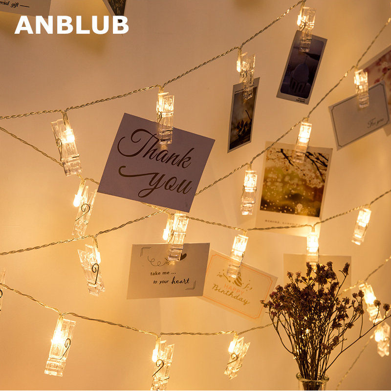 Anblub 1 5m 2m 3m Photo Clip Holder Led String Lights For Christmas New Year Party Wedding Home Decoration Fairy Lights Battery Fairy Lights String Lightslight For Christmas Aliexpress