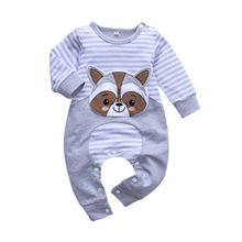 Autumn Long Sleeves Striped Print Stitching Design Onesies Fashion Cute Cartoon Bear Pattern Baby 0-3T Newborn Baby Clothes #p red hooded design long sleeves stitching jumper