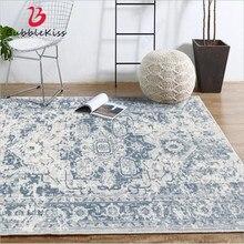 Tapetes para sala de estar europeu clássico azul padrão abstrato tapete sala estar acessórios mesa área para o quarto