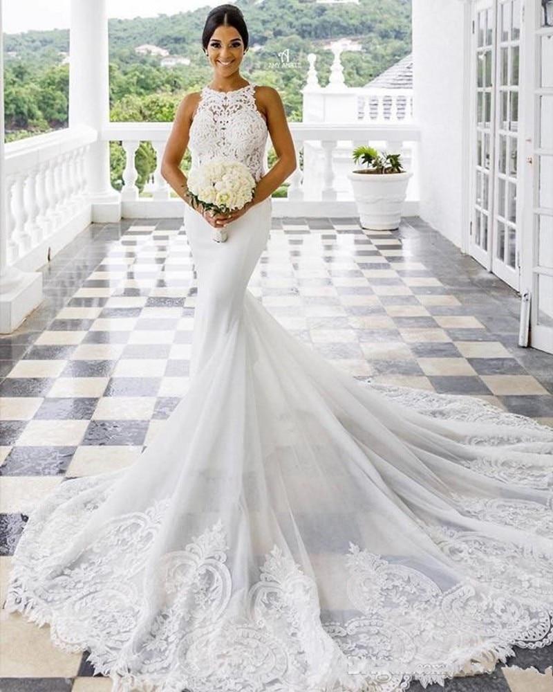 Aso Ebi Lace Mermaid Wedding Dresses 2020 Crew Sexy Arabic Court Train Beach Bridal Gowns Vintage Cheap Robe De Mariee