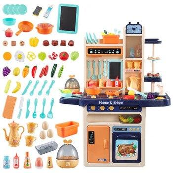 Infant Shining 93cm Kids Kitchen Toys 65pcs Pretend Play Simulation Kitchen Children's Cooking Toys 2-4 Years Kitchen Toys Set