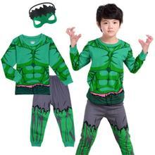 2 10Y Kids Boy Hulk Spiderman Ironman Thor Winter Pyjamas Avengers Sleepwear Clothes Set Child Pijamas