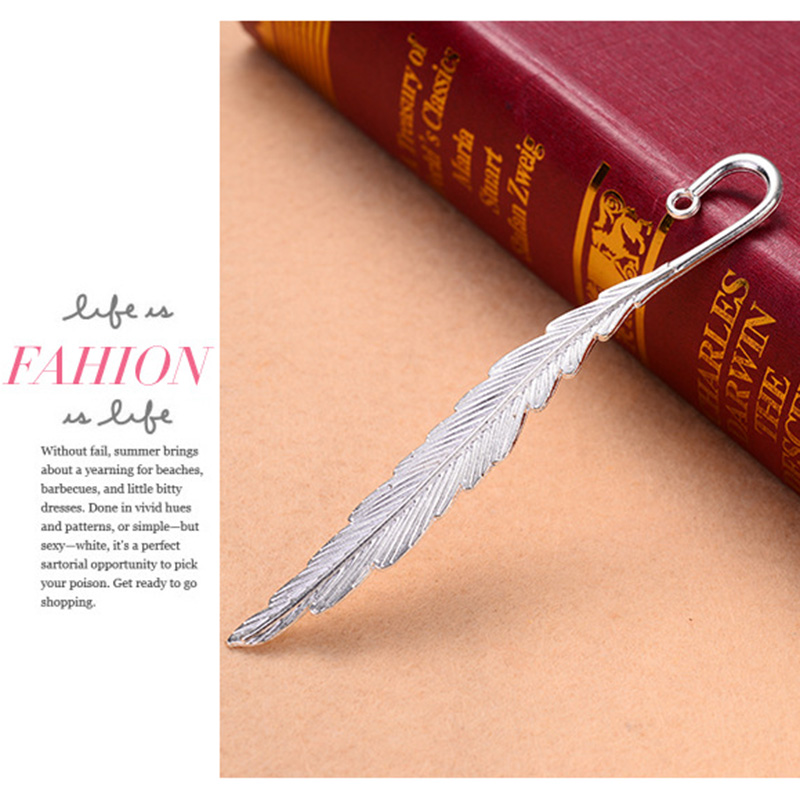 10 Pcs Vintage Metal Feather Bookmarks Alloy Feather Shape Book Markers B88