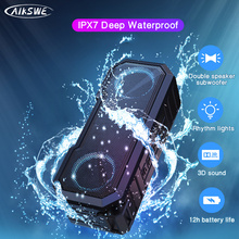 AIKSWE Portable Bluetooth Speaker Wireless Flash Light Speaker TWS Bass Stereo IPX7 Waterproof Loudspeaker FM Radio 12H Playtime