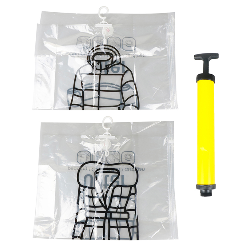 Travel Closet Hanging Vacuum Bag Hanger Space Saving Clear Seal Wardrobe Compressed Bag
