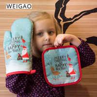 WEIGAO 2 uds. Manoplas para horno de Navidad para hornear guantes Anti-calor almohadilla para Comedor Cocina alfombra Año Nuevo 2020 Navidad Fiesta decoraciones