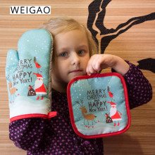 WEIGAO 2pcs Christmas hot Oven Mitts Baking Anti-Hot Gloves Pad Dining Kitchen Mat New Year 2020 Navidad Xmas Party Decorations