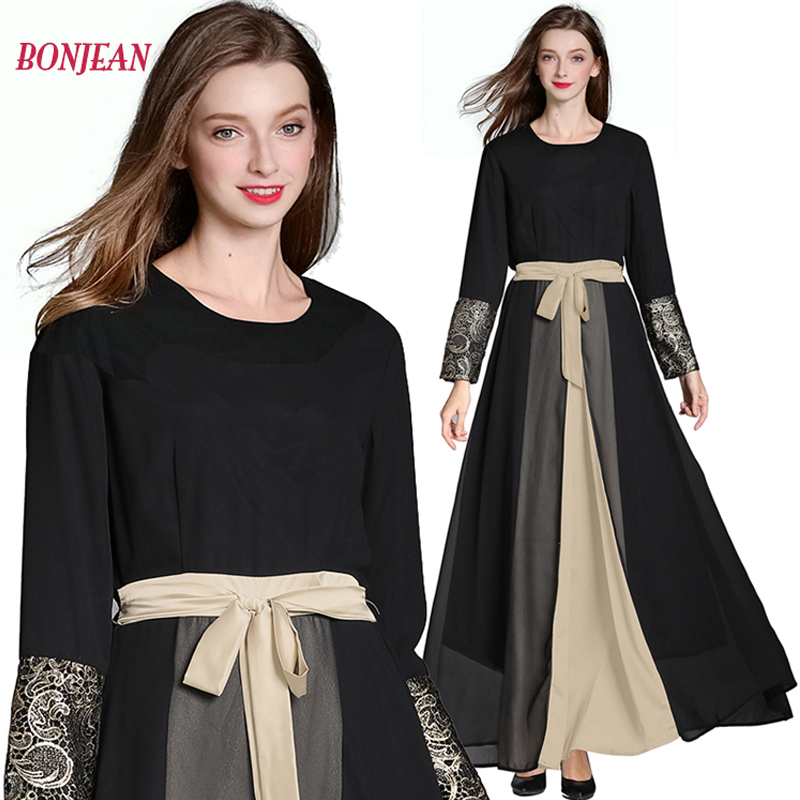 Muslim Dress Full Long Hijab Dresses Chiffon <font><b>Afghanistan</b></font> Abaya Prayer Clothes Kaftan Dubai Abayas Caftan Turkish Islamic Robe image