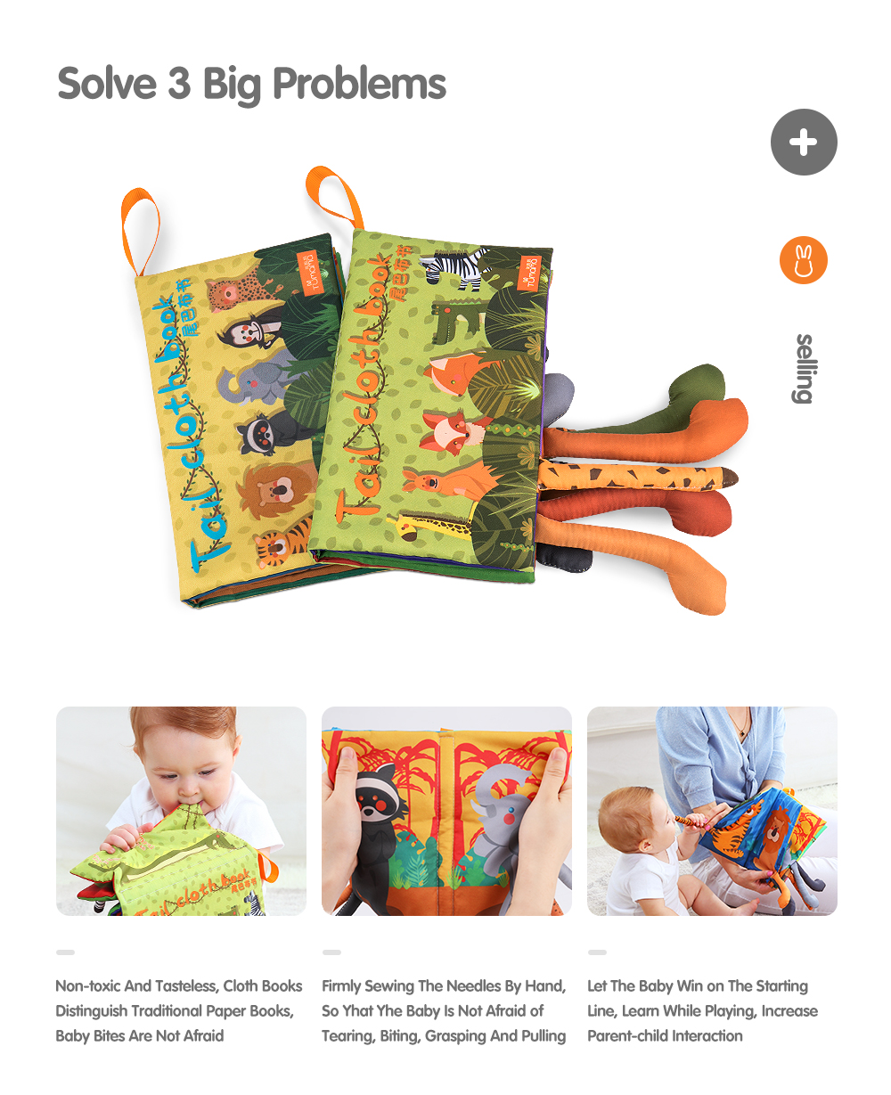 Baby Rattles Mobiles Toy Soft Animal Tails Cloth Book Newborn Stroller Hanging Toy Baby Early Learning Educational Toys