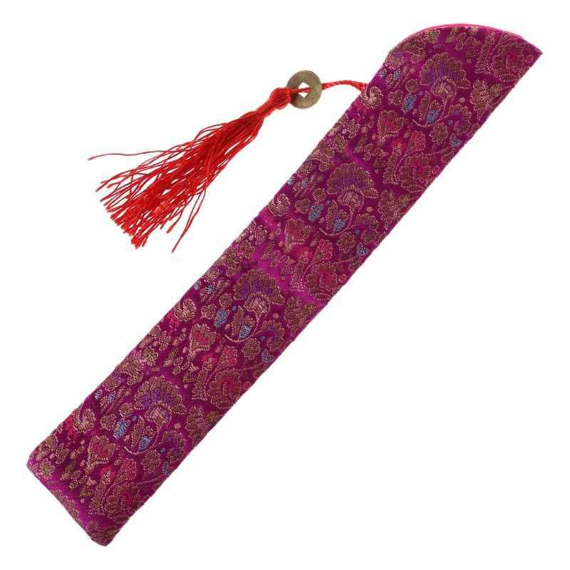 Jedwab składany chiński wentylator ręczny torba z pomponem pyłoszczelna ochraniacz uchwytu woreczek etui pokrowiec w stylu Retro
