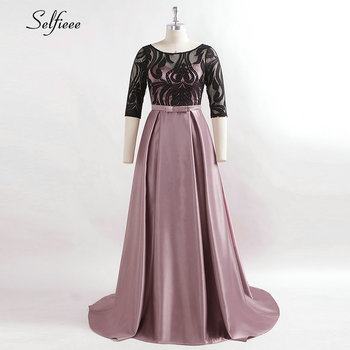 Elegant Dresses A-Line O-Neck Empire Bow Lace Contrast Color Sexy Woman's Dresses Evening Formal Party Gowns 2020 Robe ete Femme 4