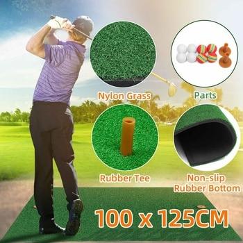 Backyard Golf Mat Indoor Residential Practice Training Golf Driving Mat Golf Hitting Mats With Rubber Tee Ball Free 100x125cm
