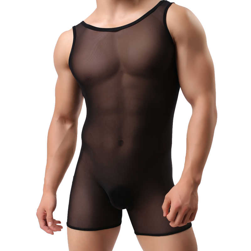 Men's Bodysuit Shaper High Elastic Fabric Corsets Vest Ice Silk Mesh Transparent Breathable Body Gay Shaper Men Tshirt Tights