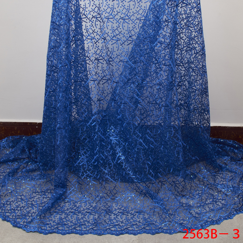 African Lace Fabric Nigerian Sequins Lace Fabric 2019 Embroidered Net Laces Fabric Bridal High Quality French Tulle YA2563B-3