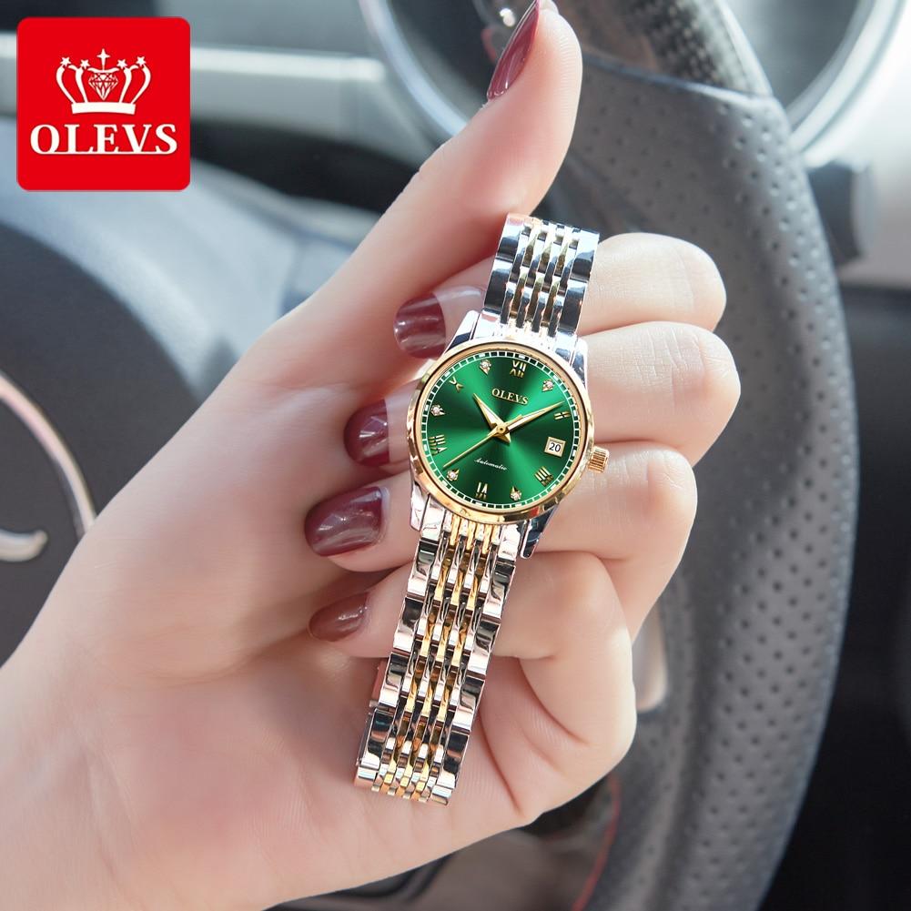 OLEVS  Women Watches Mechanical Watch Luxury Bracelet Wrist Wristwatch Elegant Ladies Automatic Clock Watch Relogio Feminino 1