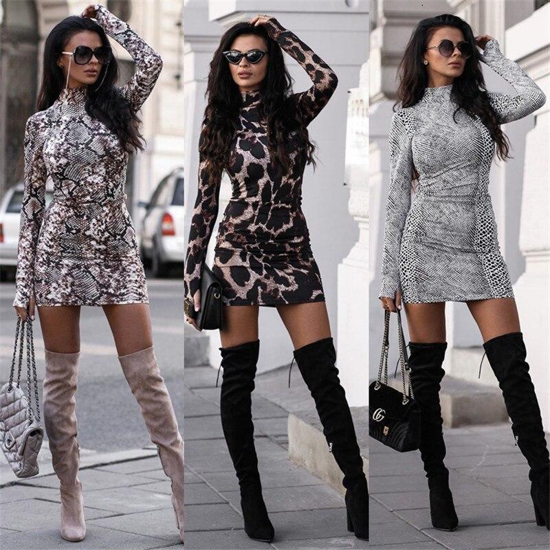 Sexy Frauen Rollkragen Leopard Print Kleid Langarm 2019 Schlange Haut Abend Party Clubwear Kleid Bodycon Mode Frauen Kleid