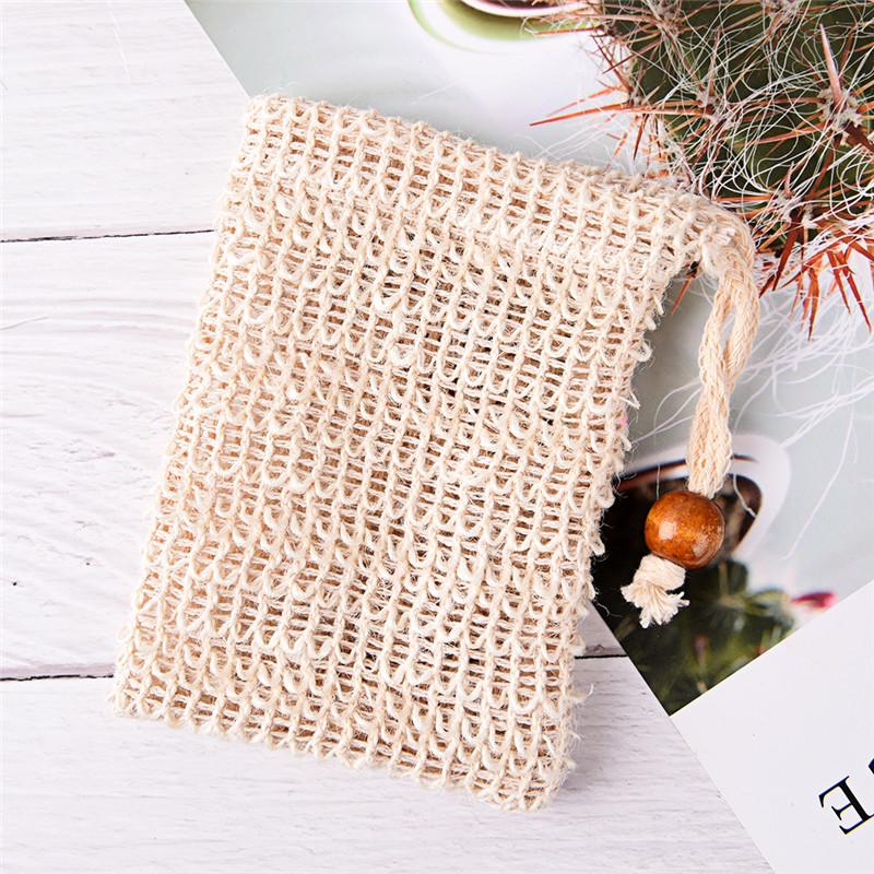 1 Pcs Exfoliating Soap Bags Handmade Natural Sisal Soap Bags mesh Soap Saver Pouch Holder Bath Soap Bag bathroom Supplies
