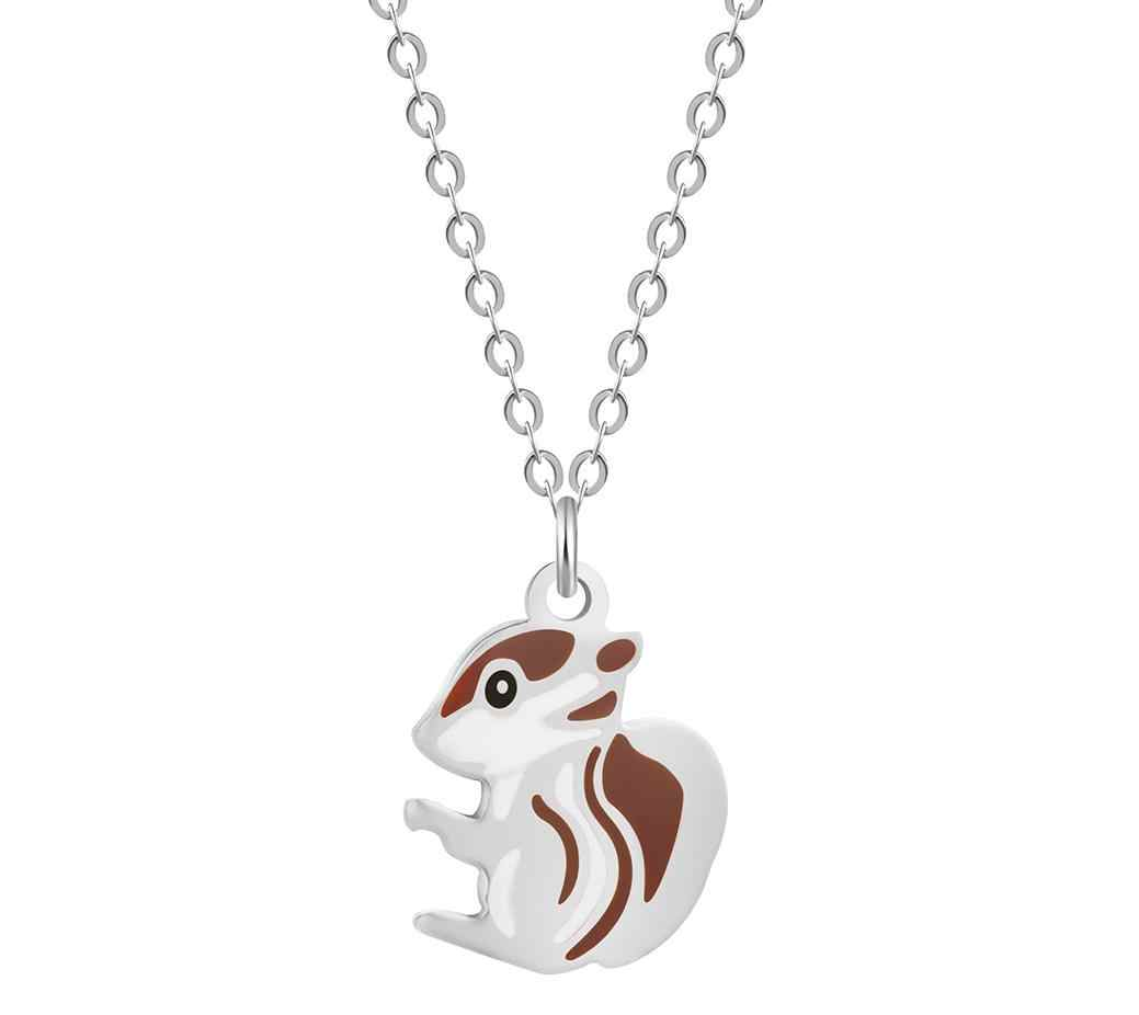 Super Cute Mini Animal Hamster Squirrel Hanging Stainless Steel Necklace Female Foreign Trade Hot Selling Accessories