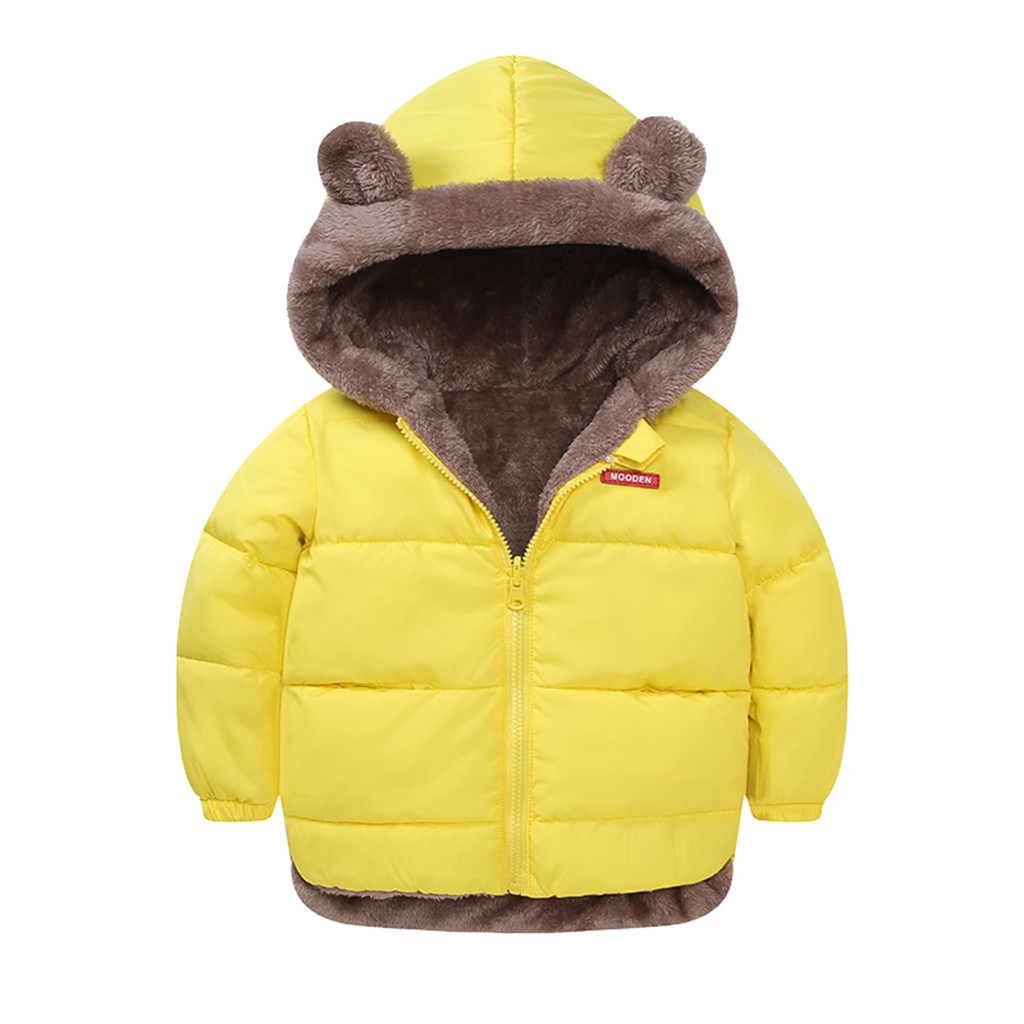 Зимнее теплое ветрозащитное пальто с капюшоном и ушками медведя для маленьких мальчиков и девочек детская модная утепленная верхняя одежда с обеих сторон, куртка
