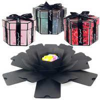 Novo hexágono surpresa explosão caixa diy artesanal scrapbook álbum de fotos caixa de presente de casamento para valentine natal caixas de presente