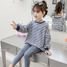 Child T-shirts 2019 Spring Autumn Toddler Kids Girls Long Sleeve O Neck Blue Stripe Top T-shirt Clothes for 6 7 8 12 Years